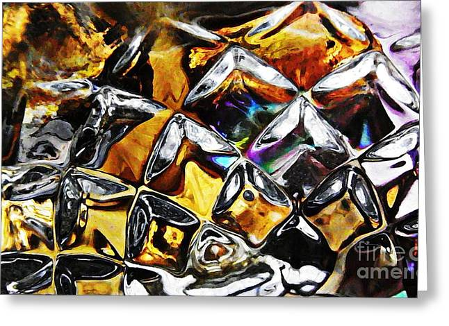 Cut Glass Greeting Cards - Glass Abstract 447 Greeting Card by Sarah Loft