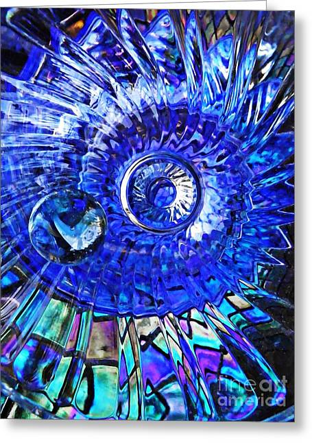 Cut Glass Greeting Cards - Glass Abstract 478 Greeting Card by Sarah Loft