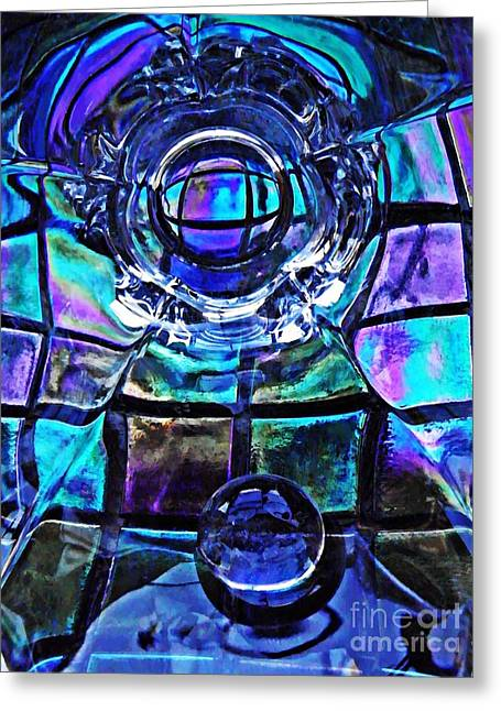 Cut Glass Greeting Cards - Glass Abstract 485 Greeting Card by Sarah Loft