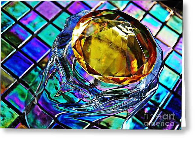 Cut Glass Greeting Cards - Glass Abstract 680 Greeting Card by Sarah Loft
