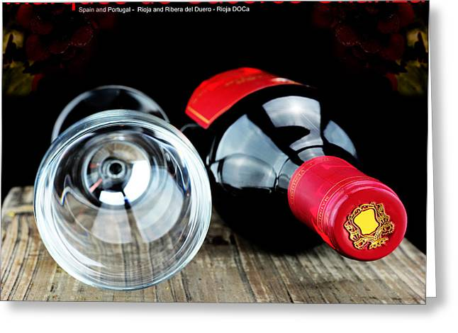 Italian Wine Greeting Cards - Glass and a bottle of wine  Greeting Card by Toppart Sweden