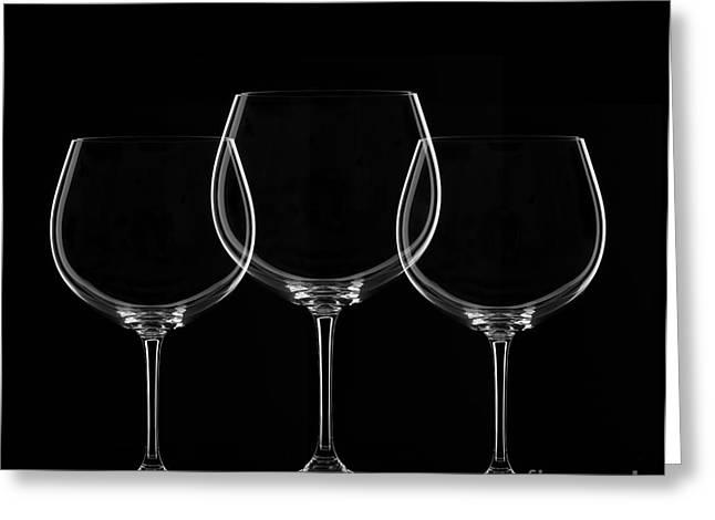 Wine Reflection Art Greeting Cards - Glass Greeting Card by Bahadir Yeniceri