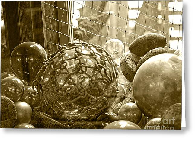 Fisherman Glass Net Floats Greeting Cards - Glass Balls Japanese Glass Buoys Greeting Card by Artist and Photographer Laura Wrede