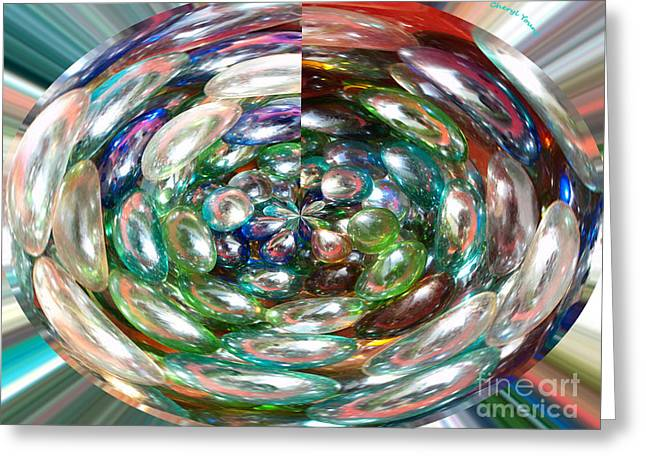 Glass Beads Greeting Card by Cheryl Young
