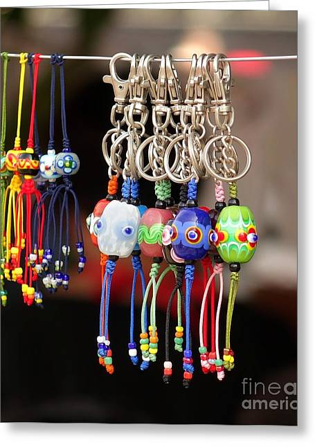 Keychain Greeting Cards - Glass Beads Jewelry Greeting Card by Yali Shi