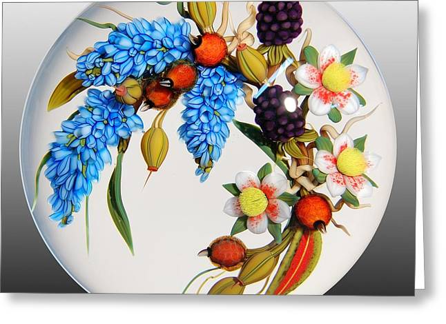 Lampwork Greeting Cards - Glass Berries and Blooms Greeting Card by Chris Buzzini