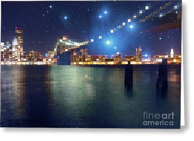 Glass Block Brooklyn Bridge Among The Stars Greeting Card by Beverly Claire Kaiya