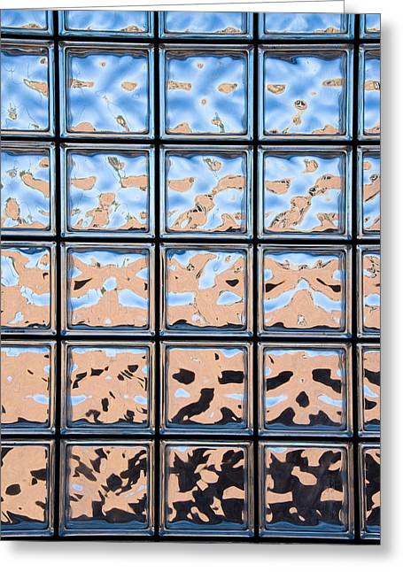 Glass Wall Greeting Cards - Glass block window Greeting Card by Joe Belanger