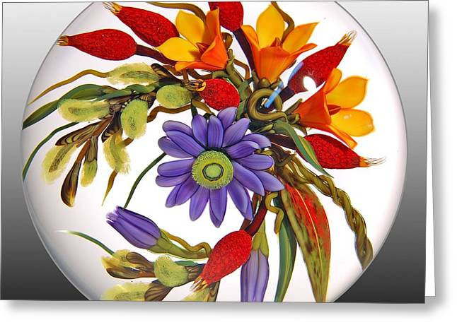 Lampwork Greeting Cards - Glass Blooms Leaves and Seedpods Greeting Card by Chris Buzzini