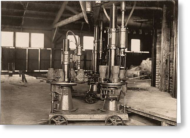 Glass-blowing Machine, 1908 Greeting Card by Science Photo Library