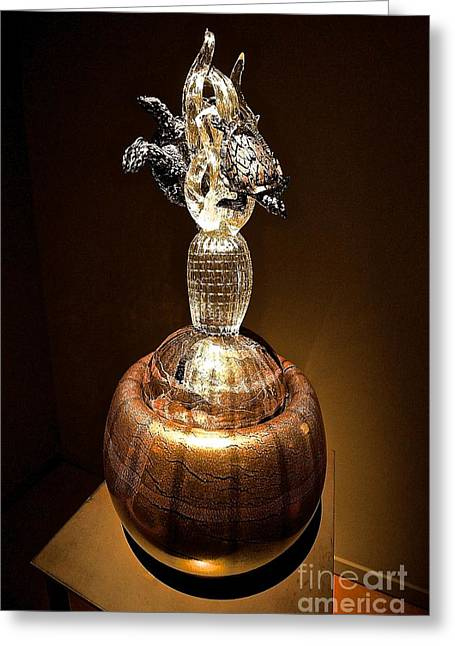 """glass Museum"" Greeting Cards - Glass Blown Gold Greeting Card by Ken Andersen"