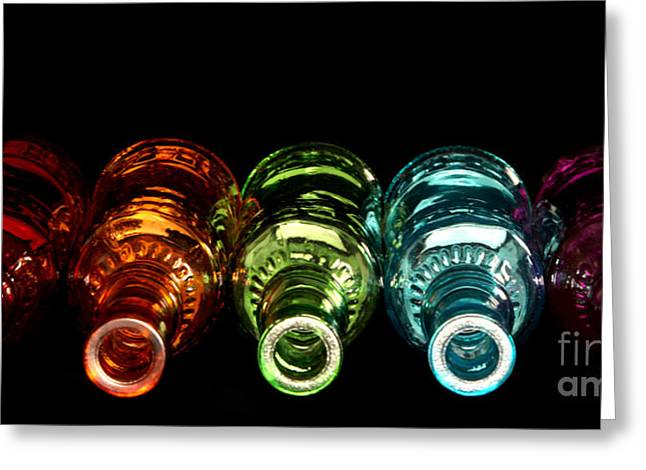 Modern Photographs Greeting Cards - Glass Bottle on Black Greeting Card by Jennifer Mecca