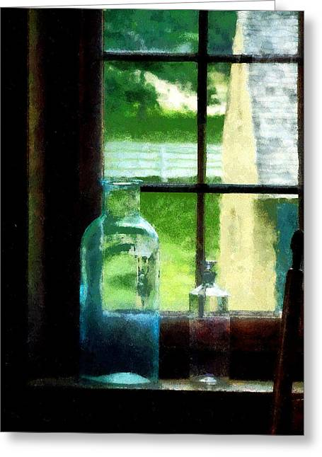 Fence Greeting Cards - Glass Bottles on Windowsill Greeting Card by Susan Savad
