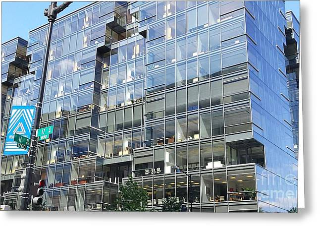 Cubicle Greeting Cards - Glass Building Block Building Greeting Card by Paddy Shaffer