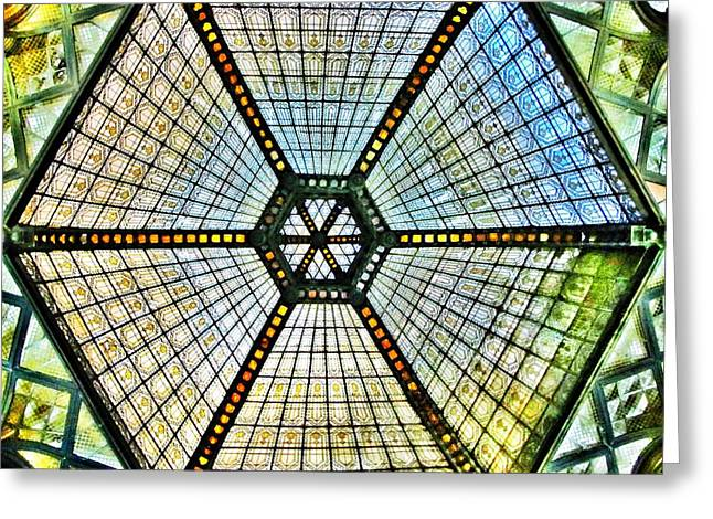 Visionaries Designs Greeting Cards - Glass Ceiling Dome in Paris Court - Budapest - Hungary Greeting Card by Marianna Mills