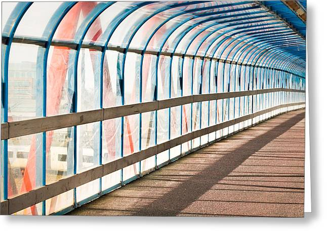 Angles Greeting Cards - Glass covered walkway Greeting Card by Tom Gowanlock