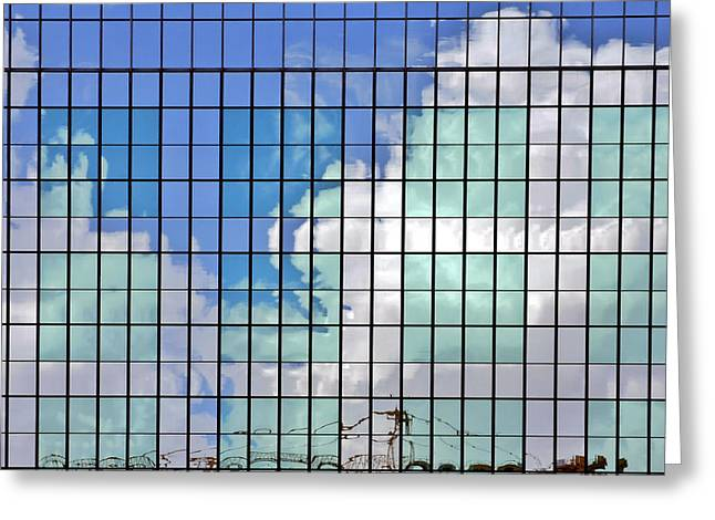 Glass Facades Greeting Cards - Glass Facade Houston TX Greeting Card by Christine Till
