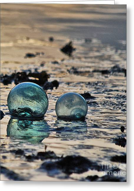 Glass Floats Greeting Cards - Glass Float At Sunset Greeting Card by Cynthia Lagoudakis