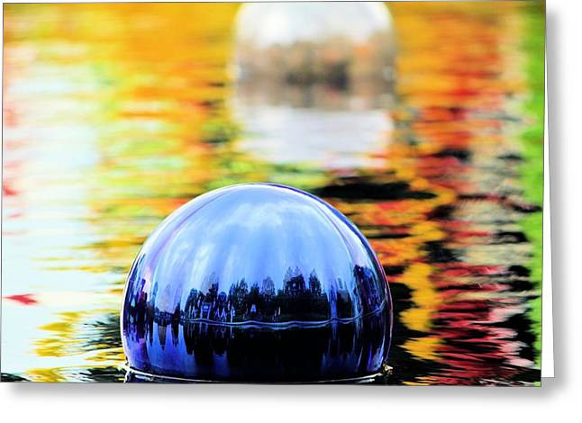 Spectrum Glass Art Greeting Cards - Glass Floats Greeting Card by Elizabeth Budd