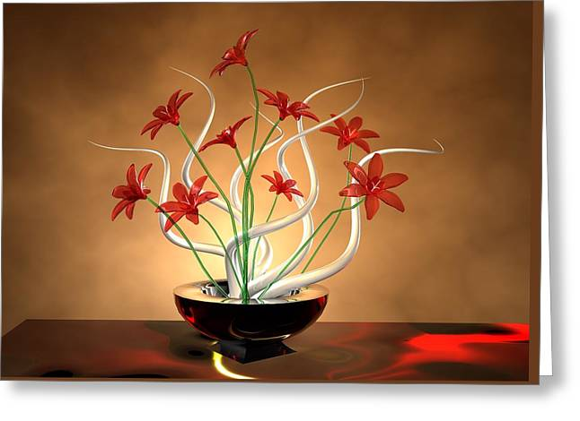 Digital_art Greeting Cards - Glass Flowers Greeting Card by Louis Ferreira