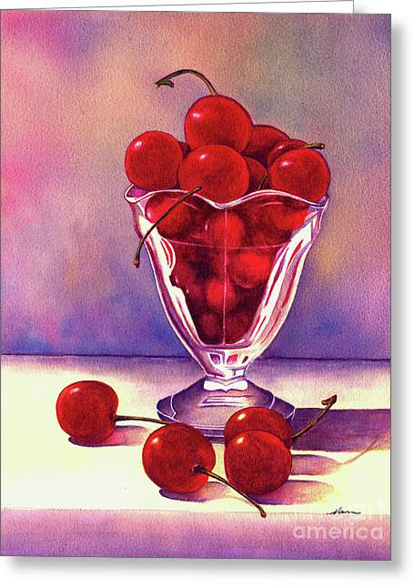 Glass Full Of Cherries Greeting Card by Nan Wright