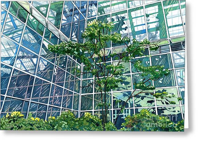 Atrium Paintings Greeting Cards - Glass Garden Greeting Card by LeAnne Sowa