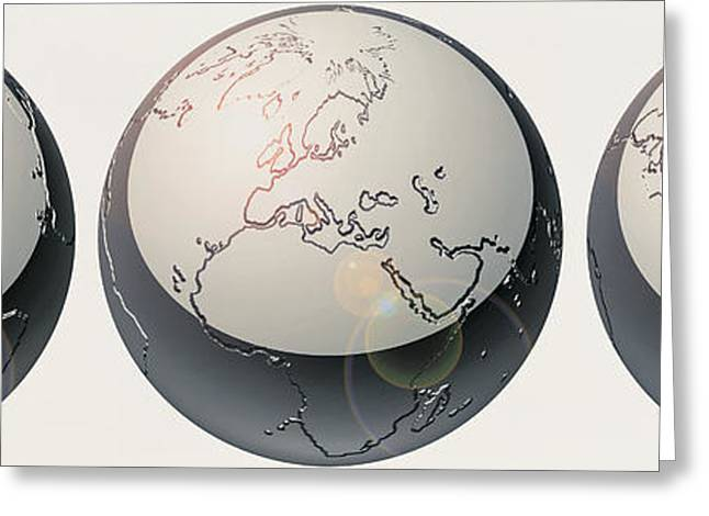 Planet Earth Greeting Cards - Glass Globes Greeting Card by Panoramic Images