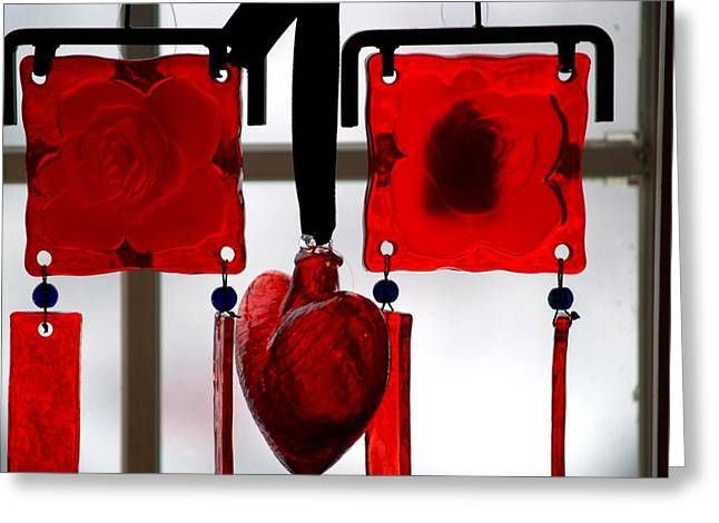 Romance Glass Art Greeting Cards - Glass heart and roses Greeting Card by FL collection