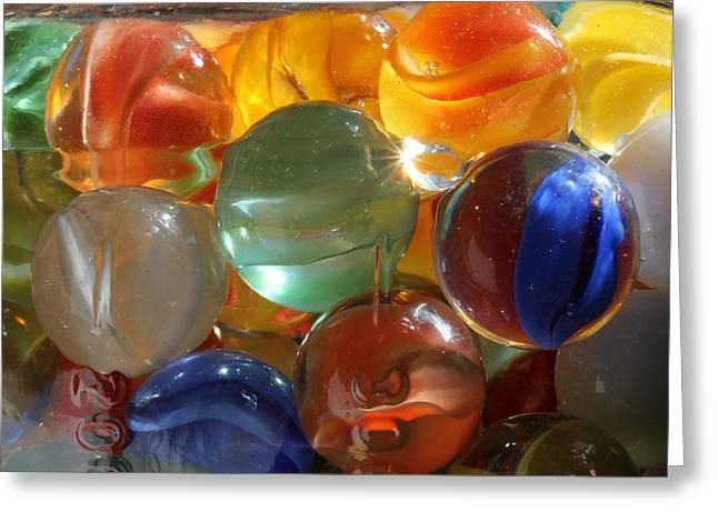 Cats Eye Marbles Greeting Cards - Glass in Glass 3 Greeting Card by Mary Bedy