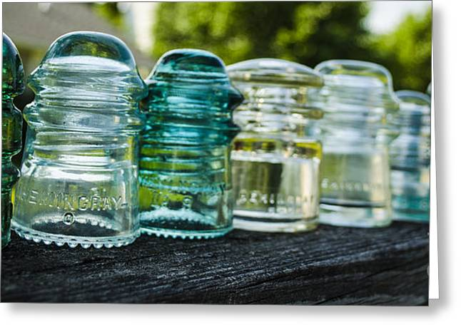 Glass Insulator Row Greeting Card by Deborah Smolinske