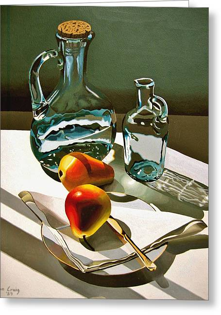 Water Jug Greeting Cards - Glass jug Greeting Card by Jeni Hodgson-Craig