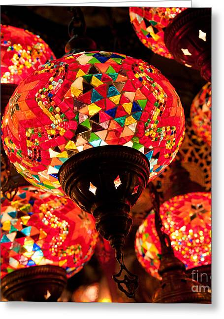 Coloured Glass Greeting Cards - Glass Lanterns 03 Greeting Card by Rick Piper Photography