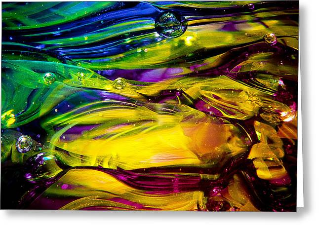 Glass Reflections Greeting Cards - Glass Macro Abstract RCY1 Greeting Card by David Patterson