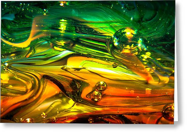 David Patterson Digital Art Greeting Cards - Glass Macro Abstract RGO1CE2 Greeting Card by David Patterson