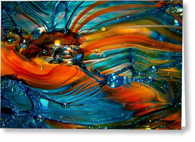 Glass Macro Abstract Rto Greeting Card by David Patterson