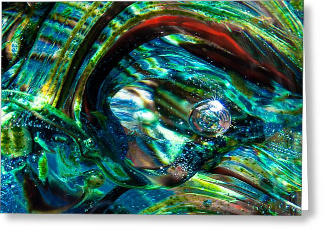 Blue Green Wave Greeting Cards - Glass Macro - Blue Green Swirls Greeting Card by David Patterson