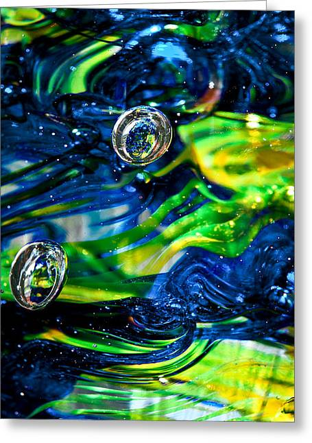 Brilliant Color Greeting Cards - Glass Macro - Seahawks Blue and Green -13E4 Greeting Card by David Patterson