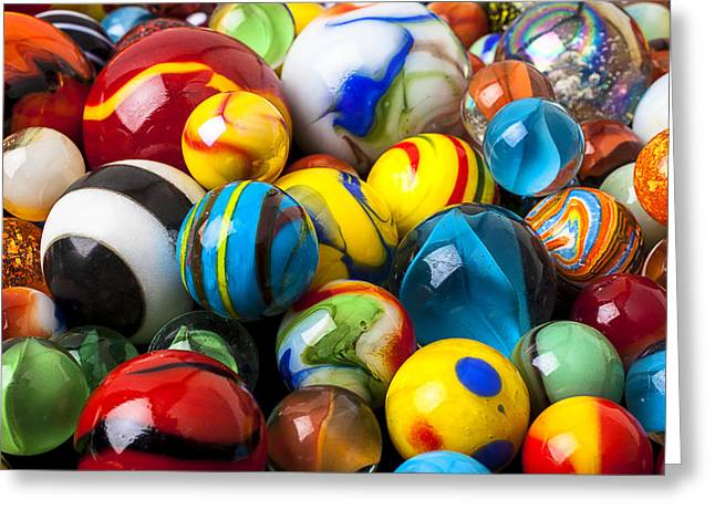 Plaything Greeting Cards - Glass marbles Greeting Card by Garry Gay