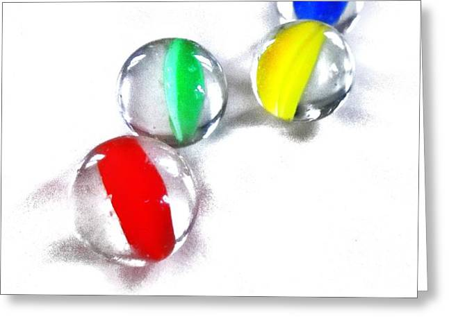 Glass Marbles Greeting Card by Marianna Mills