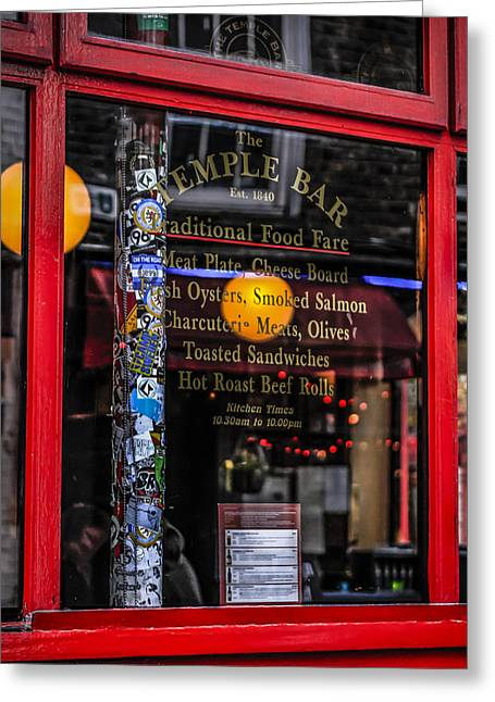 Local Food Places Greeting Cards - Glass Menu Greeting Card by Chris Smith