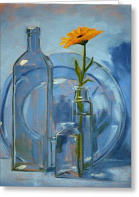 Medium Flowers Greeting Cards - Glass Greeting Card by Nancy Merkle