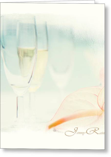 Champagne Glasses Greeting Cards - Glass of Champagne. Elegant KnickKnacks from JennyRainbow Greeting Card by Jenny Rainbow