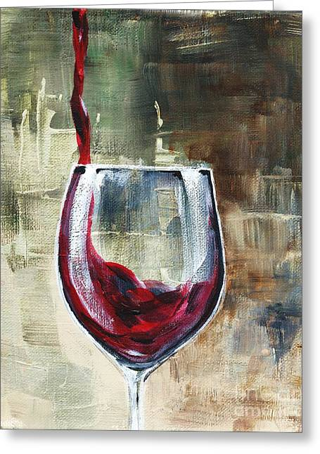 Wine Pouring Paintings Greeting Cards - Glass Of Pouring Red Greeting Card by Lisa Owen-Lynch