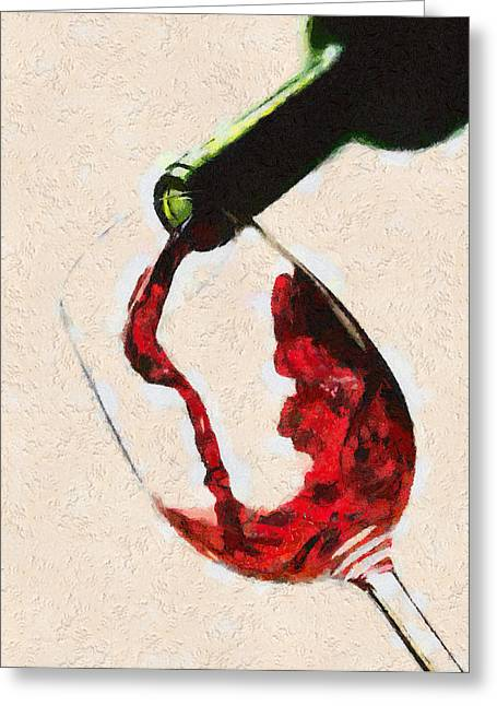 Wine Pour Greeting Cards - Glass of red wine Greeting Card by Georgi Dimitrov