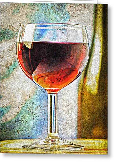 Glass Of Red Wine Greeting Card by Marzia Giacobbe