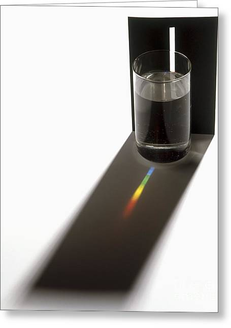 Full Spectrum Greeting Cards - Glass Of Water And Spectrum Greeting Card by Mike Dunning / Dorling Kindersley