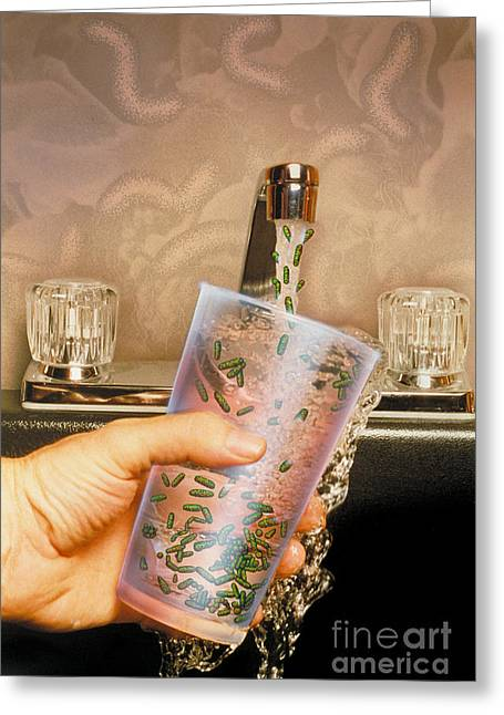 Faucet Greeting Cards - Glass Of Water Under The Faucet Greeting Card by Chris Bjornberg
