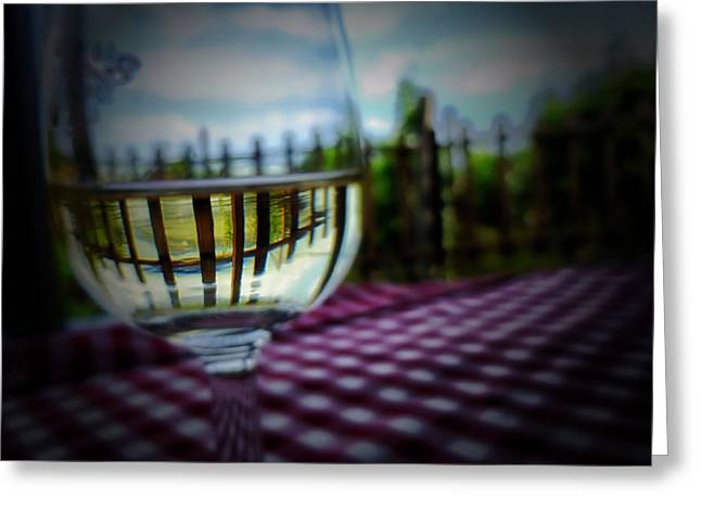 Table Cloth Greeting Cards - Glass of White Wine Greeting Card by Mountain Dreams