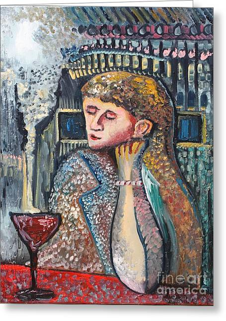 Glass Of Wine Greeting Card by Michael Kulick
