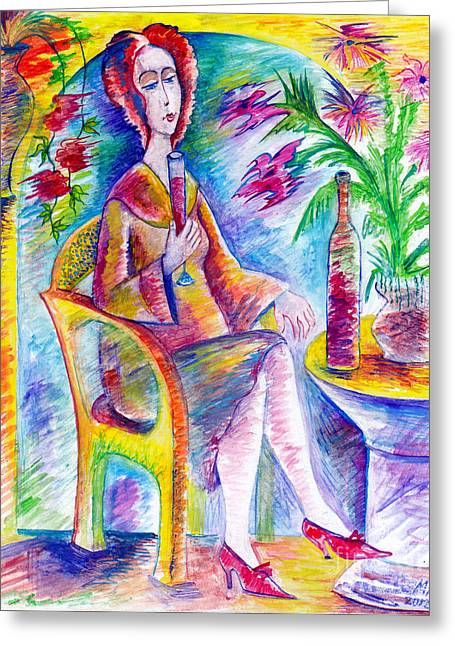 Glass Of Wine Greeting Card by Milen Litchkov